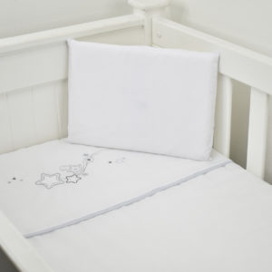 3 PIECE COT LINEN SET - GREY STARS