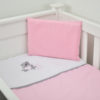 3 PIECE COT LINEN SET - GREY TEDDY & PINK HEARTS