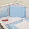 5 PIECE COT LINEN SET - AEROPLANE RED
