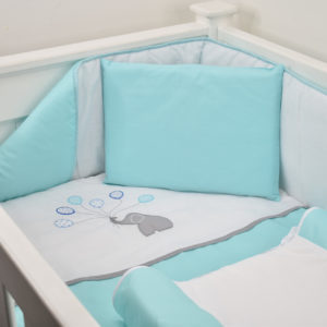 5 PIECE COT LINEN SET - ELEPHANT & BLUE BALLOONS