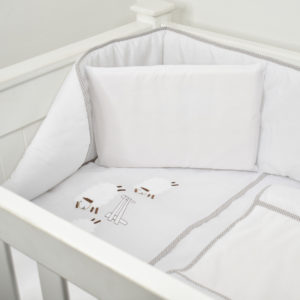 5 PIECE COT LINEN SET - SHEEP BROWN
