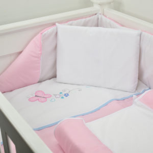 5 PIECE COT LINEN SET - BUTTERFLY PINK