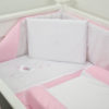5 PIECE COT LINEN SET - SLEEPY BEAR ON MOON PINK