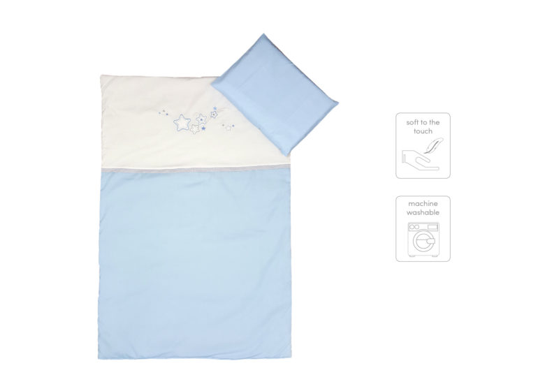 3 PIECE COT LINEN SET - BLUE STARS