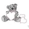 3 PIECE COT LINEN SET – GREY TEDDY & PINK HEARTS 4