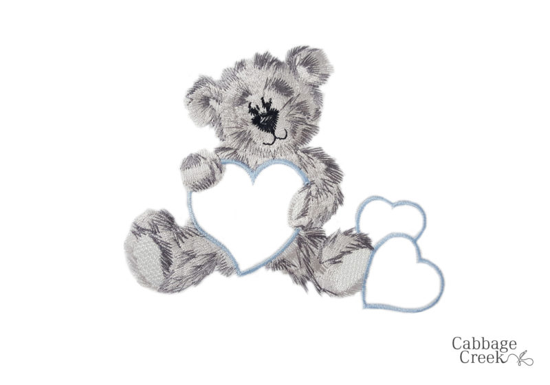 3 PIECE COT LINEN SET - GREY TEDDY & BLUE HEARTS