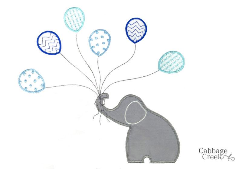 5 PIECE COT LINEN SET - ELEPHANT & BLUE BALLOONS