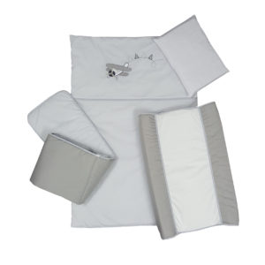5 PIECE COT LINEN SET - AEROPLANE GREY